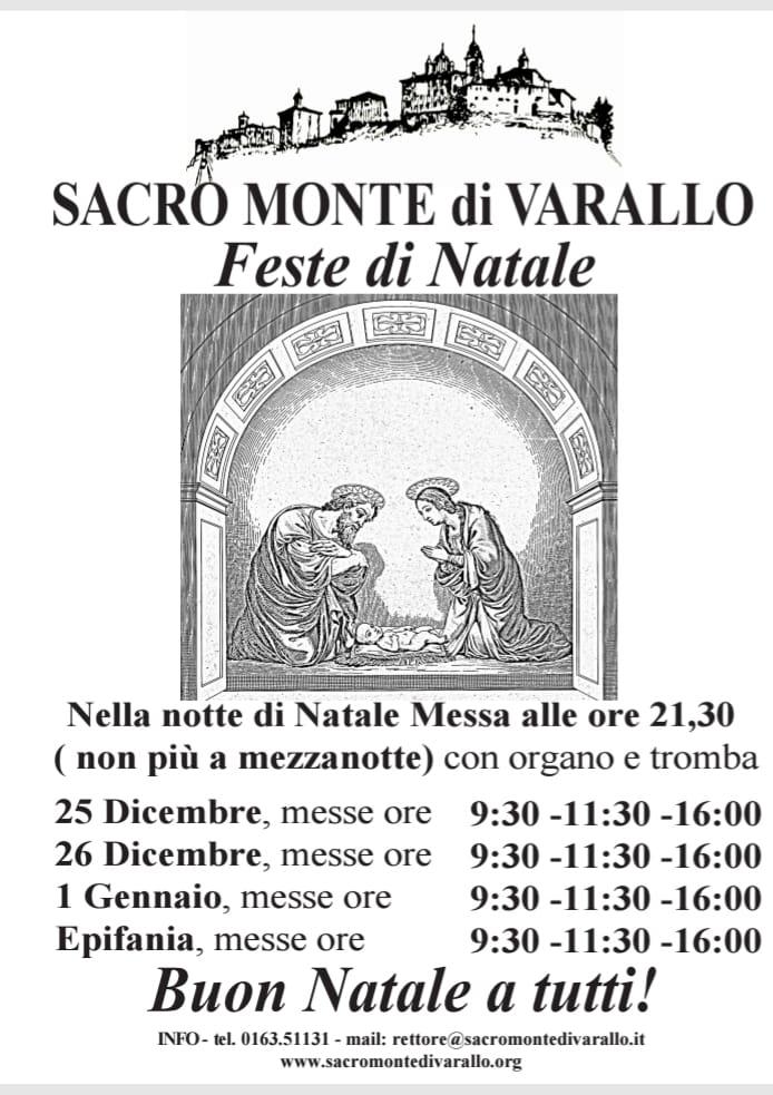 Orari messe per le feste di Natale al Sacro Monte